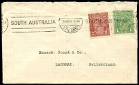 Lot 251:2d Red-Brown Die I BW #97, with 1d green LM watermark BW #78, both tied Nov 27, 1924 SA slogan cancel to envelope of Commonwealth Bank in Adelaide addressed to Switzerland. Small peripheral blemishes, 2d single wmk on cover Cat $150, good usage.