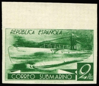 Lot 1856:1938 Submarine Service top marginal Imperforate proof of 2pta (as SG #857b) in green on ungummed unwatermarked white wove paper. [Imperfs from this set in unissued colours are footnoted by Michel below Mi #729]