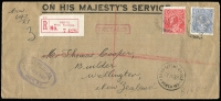 Lot 1284:1927 (Apr 22) use of long OHMS envelope registered to New Zealand from the Office of Titles with KGV s/wmk 1½d red and 3d blue perf 'OS' BW #88ba and 105b (latter cat $250 on cover). Undelivered with several postal markings, most significant being boxed red 'DECEASED' applied in Wellington, also Perth DLO.