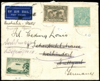 Lot 649 [1 of 2]:1936 (Oct 8) plain envelope (a bit grubby) addressed to Stuttgart (Germany) franked CofA wmk KGV 1/4d BW #131 with 3d and 6d Air Mail Service BW #134 & #144, each tied cds 'GPO MELBOURNE/-8OC36/3' (another on the back). Inscribed Australia-Italy with Italy crossed out and replaced with Greece Germany. Backstamps Athens and Vienna transits. Redirected on arrival.