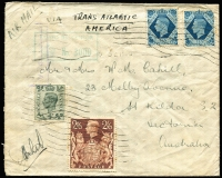 Lot 838:1940 (Sep 9) from GB by air, envelope inscribed 'VIA TRANSATLANTIC AMERICA' franked 4/6d by KGVI 4d, 10d x2, and 2/6d brown SG #468, 474 & 476. Sender Lieut N.M. Cahill, AIF, UK, who signed the env on front (his own censor?), addressed to (presumably) his parents in St Kilda, Victoria. Nice example of this routing.