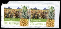 Lot 388:2012 Farming Australia (2nd Series) 20c Pineapple horiz pair on piece variety Misperforated due narrow vertical margin between. Light dotted cancel, the second example we've seen. [A block of 4, among others on piece, sold in our August 2014 Sale 31 for $210++ (lot 1080)]