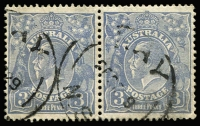 Lot 146:3d Blue Die Ia Type B-B pair, BW #107B. Nicely centred 1929 Hay (NSW) cds.