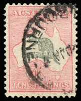 Lot 159:10/- Grey & Pink BW #50A. Couple small corner perf imperfections, firm Melbourne cds scarcely detracts from a nicely centred stamp, Cat $300.