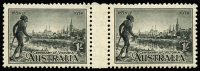 Lot 1308 [4 of 4]:1934-48 Selection comprising [1] 1934 Victoria Centenary P11½ 1/- BW #156 in fresh interpanneau pair MLH (rarely offered as such); [2] 1934-48 1/6d Hermes all three issues with no wmk MLH, 1937 part imprint and 1948 thin paper NW corner interpanneau single MUH (both have selvedge hinge rems). Interesting presentation, min cat (as singles) $180+. (5)