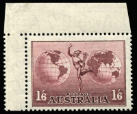 Lot 220 [1 of 2]:1934-48 Selection comprising [1] 1934 Victoria Centenary P11½ 1/- BW #156 in fresh interpanneau pair MLH (rarely offered as such); [2] 1934-48 1/6d Hermes all three issues with no wmk MLH, 1937 part imprint and 1948 thin paper NW corner interpanneau single MUH (both have selvedge hinge rems). Interesting presentation, min cat (as singles) $180+. (5)