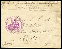 Lot 1749:1917 French Military Mission Frank Stamps (seated Liberty in design) on cover: [1] 1917 (November) envelope with magenta 'MISSION MILITAIRE FRANCAISE EN ITALIE', from Taranto (Italian Naval base) to a philatelist in Paris (handstamp on the back 'PARIS XVIII/12.11.17/DISTRIBUTION'); [2] 1919 (probably) envelope with bright red 'MISSION MILITAIRE FRANCAISE/BERLIN' also to Paris. (2)