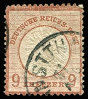 Lot 1114:1872 Large Shield 9Kr Brown Mi #27a (SG #27 shade). Rounded NW corner, some surface scuffs and shortish perfs, corner s/ring cds, Cat €550+ (SG £750). Difficult stamp.