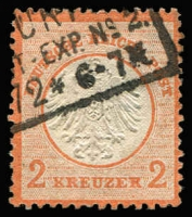 Lot 1113:1872 Small Shield 2Kr Red Orange (ziegelrot) Mi #8 (prob SG #9). Couple shallow hinge thins, well-centred, part neat rectangle datestamp, fresh appearance, Cat €400+ (SG £475).