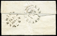 Lot 1151 [2 of 2]:1841 (Jan 31) 4-margin 1d Red-Brown [HE] prob SG #8 tied black MC to entire Warminster to Glastonbury, backstamps. [Pencil notation Re-entry (check letters?) which may suggest Plate 27]