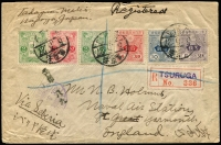 "Lot 1704 [1 of 2]:1916 (May) Registered envelope franked 26s by common 1914-25 wmkd defins in SG #170e-176e range to the Naval Air Station at Great Yarmouth in England. On the back two strikes boxed chop of 'TADAYASU MAKI/NO.252 SHIMOMAIZU, NAGOYA, JAPAN', on the front the stamps cancelled three Japanese datestamps '5.5.27' alongside registration label of 'TSURUGA' strikes and light violet English language date stamp 'TSURUGA/29.5.?/JAPAN'. Arrival backstamp x2 'REGISTERED/20JU16/GREAT YARMOUTH'. Brittle, scarce to rare early Air Forces item. [Env inscribed ""via Siberia"".]"
