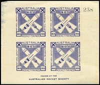 Lot 683 [2 of 3]:1935 KGV Jubilee Rocket 'ZODIAC' Flight (Oct 28) Riverview-Moggill AAMC #R4a with KGV 2d red tied Moggill cds and special vignette tied Australian Rocket Society cachet, serial no 169. Comes with uncancelled sheetlet of four blue vignettes (thinned upper left) and blue flimsy facsimile of Telegraph front page (cancelled same cachet, flown in the cover), AAMC #R4c & f. Undercatalogued, very scarce, very nice. (3)