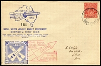 Lot 683 [1 of 3]:1935 KGV Jubilee Rocket 'ZODIAC' Flight (Oct 28) Riverview-Moggill AAMC #R4a with KGV 2d red tied Moggill cds and special vignette tied Australian Rocket Society cachet, serial no 169. Comes with uncancelled sheetlet of four blue vignettes (thinned upper left) and blue flimsy facsimile of Telegraph front page (cancelled same cachet, flown in the cover), AAMC #R4c & f. Undercatalogued, very scarce, very nice. (3)