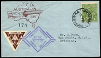 Lot 684:1936 Rocket 'RT6' Flight (Jul 13) Moggill-Riverview AAMC #R6 with KGV 1d green tied Riverview cds alongside special brown triangle vignette tied special Australian Rocket Society cachet, serial no 174. Comes with another vignette for a later firing inscribed 'RZ2/YOUNG ROCKET EXPERIMENT/13-7-37/AUSTRALIA' AAMC #R10c. Undercatalogued at $175, scarce and very fine. (2)