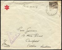 Lot 595:Greece (Apr 16) use of lightly stained ACF envelope inscribed 'Air Mail' addressed Pierre Gorman, Caulfield, Victoria (a Gorman signature appears alongside triangular censor handstamp - family correspondence?). 9d Platypus tied 'RAILHEAD/16AP41/R.M.1' cds. Roughly opened, damaged flap, rare. [Australian Forces began evacuation eight days later, on April 24]