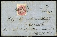 Lot 1679:1864 (Sep 21) entire franked 5Kr rose perf 9½ Mi #32 tied 2-line 'RAGUSA/21.OTT' datestamp. Addressed to Sarajevo via Metkovich. Removable hinge rems, light soiling, near complete black wax seal. Scarce.