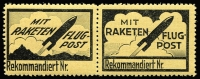 Lot 1303:1931 Rocket Mail: ('mit RAKETEN FLUG-POST') vignette se-tenant pair Mair #C9a & 10a. One unit adhesion, one MUH, both fine and very fresh.