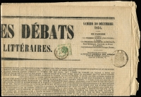 Lot 1566:1853 Imperial Journal 2Kr Green: SG #J15 (slightly cut into) on front of the only page of the Paris newspaper Journal des Débats issue of Saturday, Dec 30, 1854 with, alongside, the French 'TIMBRES IMPERIAL/cen/6/SEINE' pictorial handstamp. The Austrian adhesive cancelled by a mostly indistinct '1/1/MILANO' datestamp. Scarce on such a large part, possibly the entire, newspaper.