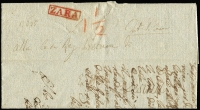 Lot 991:1833 entire (some damage) with firm boxed 'ZARA' handstamp in red, indistinct address, clearly 1833 with the date 16th of ??. Most of wax seal broken away leaving only the ornate Arms embossing.