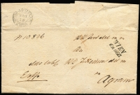 Lot 1313:1849 Entire written Dec 10 to the Royal KK Justice Office in Agram (previous name for Zagreb) from Commanding General of the Austria Army of Occupation in Croatia and postmarked open 2-line 'WIEN/19.DEC' at right, plus d/ring arrival 'AGRAM/21/DEC' cds. Numbered within and on the outside 'A10826' (file number of some sort?), ornate embossed shield seal (red wax traces).