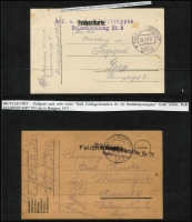 Lot 1618 [3 of 8]:1894-1918 Selection mainly fine from 1894 (Dec 16) use of 5Kr red PS Letter Card Solon-Trogirto; 1901 bi-lingual French-German 10h brown registration receipt many extra stamps added; 1906 Bosnia official envelope (damaged) used outside Bosnia to Croatia with 10h red Mi #15 added and Railway Post cds, sender's cachet; two 1917 Feldpost Postal Cards (handstamp Ballonabteilung Nr 8 with 'FPO 195/IV' cds on one, Feldlagerbataillon Nr. 29 - bicycle unit - with 'FPO 393' cds on the other); 1918 Hungary 10f parcel card for registered item Zagreb to Belovar uprated 1Kr95f (creased). Nice group. (6)