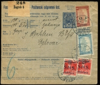 Lot 1618 [1 of 8]:1894-1918 Selection mainly fine from 1894 (Dec 16) use of 5Kr red PS Letter Card Solon-Trogirto; 1901 bi-lingual French-German 10h brown registration receipt many extra stamps added; 1906 Bosnia official envelope (damaged) used outside Bosnia to Croatia with 10h red Mi #15 added and Railway Post cds, sender's cachet; two 1917 Feldpost Postal Cards (handstamp Ballonabteilung Nr 8 with 'FPO 195/IV' cds on one, Feldlagerbataillon Nr. 29 - bicycle unit - with 'FPO 393' cds on the other); 1918 Hungary 10f parcel card for registered item Zagreb to Belovar uprated 1Kr95f (creased). Nice group. (6)
