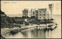 Lot 1619 [2 of 2]:1906 (Sep 30) lightly foxed real photo PPC of the Miramar Castle in Trieste franked 5h green SG #183 tied maritime almost complete 2-line handstamp 'LETA-ARRTE/PER MARE' (upside down) alongside bi-lingual ZARA Sept 30 cds. Don't see these very often.