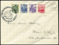 Lot 1302:1938 (Mar 16) self-addressed Vienna cover franked 70gr by four different 1934-36 local costumes with machine cancel alongside later firmly struck cachet 'Tag des Grossdeutschen-Reichs/(map)/Wien 9 April 1938'.