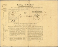 Lot 1005 [2 of 2]:1874 (Dec 12) use of Austria 5kr postal money order with franking cancelled 'GELD-ANWSNG/12/12/74/ZARA' (another alongside) transferring 8 Gulden (Kroner) from Anna Bresson of Zara to Elvira Dorkich (married name of sister or daughter?) in Pago. Backstamped s/ring 'PAGO/13/12/74' and signed by recipient. Very nice.