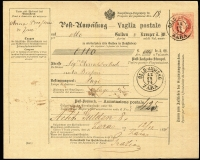Lot 1005 [1 of 2]:1874 (Dec 12) use of Austria 5kr postal money order with franking cancelled 'GELD-ANWSNG/12/12/74/ZARA' (another alongside) transferring 8 Gulden (Kroner) from Anna Bresson of Zara to Elvira Dorkich (married name of sister or daughter?) in Pago. Backstamped s/ring 'PAGO/13/12/74' and signed by recipient. Very nice.
