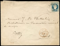 Lot 1006:1880 (Apr 30) env with Austria 10Kr blue P10½ Mi #38.II tied 'GRAVOSA/30/4/30' oval datestamp and addressed to the Library at the National Music Conservatory in Paris. On the front a red transit May 6, on the back transits for Zara May 2, Trieste May 4, a French indistinct May 6 but likely an 8th Arondissement Paris arrival.