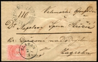 Lot 1756 [1 of 2]:1886 (Jan 21) use of Hungary 5kr rose Mi #23B on small originally underpaid registered envelope tied s/ring 'ZLATAR/21/4', the same tying 10kr blue Mi #24B affixed on the back to pay the full rate. Addressed to Zagreb where arr backstamp 'ZAGREB/25/1/8.C' alongside ornate but fragmented red wax seal. Some wrinkles and faint fingerprint, otherwise fine and scarce.