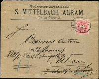 Lot 958 [1 of 2]:1897 (Jun 21) Commercial envelope franked Hungary 5Kr rose tied oval 'ZAGRAB/*97JUN.21 E 9/ZAGREB', Addressed to Vienna, two backstamps - in blue 'WIEN 1/1/1/BESTELLT/23/6.97/8-9½V.' and in black 'WIEN 18/1/110/BESTELLT/23.6.97/11.V'. Damaged flap, otherwise very fine, scarce.