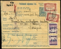 Lot 1758 [1 of 2]:1918 (Nov 2?) bank business registered use of Hungary 10f parcel card uprated Hungary 1k pictorial SG #259 and Croatia 2f on 2f opt SG #61 tied Zagreb cds, registration label top left, backstamp 'PAKETBESTELLUNG/7.XII.18/SARAJEVO 1', same date mss and Central Bank receiving handstamp. A fine and very scarce survivor, cat c€390.