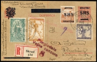 Lot 1010 [1 of 2]:1919 (Aug 5) uprated and registered 10f overprinted Postal Card to Pressburg (Germany) franked 2f SG #55 and three others with cds 'SKRAD/5UG 18/*', two different censor handstamps alongside Skrad/554 registration label. Correspondence side includes shield artwork design and pencil message. Very scarce.