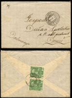 Lot 1401 [1 of 2]:Maritime Mail [1] 1912 (Sep 25) use of Austria 5h Postal Card pmkd bi-lingual Makarska cds with Fiume/1 arr cds alonside next day and bearing scarce violet maritime cachet; [2] 1914 (Jul 1) env pmkd on front 'KOTOR-TRST (ship) CATTARO-TRIESTE/3.VII.14/2' and franked on back pair Austria 5h green SG #192 tied same pmk, addressed to Drnis, Dalmatia. Attractive and scarce duo.