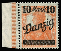 Lot 1218 [2 of 2]:1920 Overprints on Germany 10M on 7½pf variety 'D' of 'Danzig' open at top Mi #31.II.PF IV (underprint point down). Superb fresh MUH. [With hinged Mi #31.I for comparison] (2)