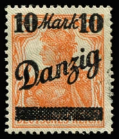 Lot 1218 [1 of 2]:1920 Overprints on Germany 10M on 7½pf variety 'D' of 'Danzig' open at top Mi #31.II.PF IV (underprint point down). Superb fresh MUH. [With hinged Mi #31.I for comparison] (2)