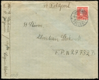 Lot 1225 [1 of 2]:1943 (Aug) Danish Legion plain envelope inscribed SS Feldpost and addressed to SS Sturm./Christian Steckmetz/F.P.N.27732B (can't quite work out where) via the domestic post and franked 20ö Mi #271 tied Sonderborg cds. On the back a plain censor reseal tied scarce SS-Feldpost censor handstamp alongside boxed '41' both magenta (probably on arrival).