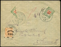Lot 1441 [1 of 3]:1919-33 Covers mainly fine - [1] 1919 (Jan 13) inbound with optd 'HRVATSKA/SHS' underpaid with Hungary 20f Postage Due (bisect & single) not optd and cancelled 'FIUME/919JAN13/5' and an ECHT expert handstamp; [2] 1920 (Mar 12) colour PPC to Rimini with 15c on 15c grey SG #107 and censor handstamp; [3] 1933 Italian Period PPC to Budapest with 60c chestnut SG #358 tied 'ABRAZIA-ARRIVA PARTENZE/11.7.33.XI-8/FIUME' cds. (3)
