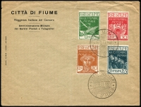 Lot 1442:1920 (Sep 12) Anniv of Occupation set of 4 unaddressed FDC with 'POSTA MILITARE/12SETT.1920/FIUME D'ITALIA' special cds. Small nick and light vertical fold away from stamps don't detract from a scarce set on a scarcer FDC.