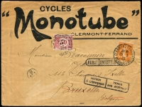 "Lot 1745:1923 5c Sower (Mar 29) advertising envelope of CYCLES ""Monotube"" Clermont-Ferrand to Brussels with Yvert #158 (cds). Underpaid with Belgium 30c Postage Due affixed, refused (label affixed on back) and returned to sender (bi-lingual handstamps). Central fold hardly detracts from colourful and attractive cover. Strong thematic."