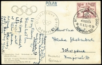 Lot 361 [1 of 7]:1936 Olympic Games Potpourri of Postal Cards, PPCs, cinderellas, all related in some way to the Berlin Games in August except two from February Garmisch-Partenkirchen winter games. Four have pictorial slogan cancels, three with special pictorial handstamps incl PPC of Hans Tschammer u. Osten, President of the German Olympic Commitee used 1938. Unused PPC of Hitler parading past the Brandenburg Gate en route to the Games. Cinderella types incl 1996 (Atlanta games) copy of a 1936 label and a modern copy of a daily program cover. (12)