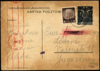 Lot 1908:1940-44 Selection with [1] two uprated and censored 12pf on 15Gr optd Postal Cards, Mi #P3II, to Jugoslavia ('TELEFON USPRAWNIA') and to Hungary ('TELEFON ZAOSCZEDZA'), both with red roller censor marks, same addressee (? - last name scratched out); [2] 1943 Warsaw photo PPC to Blankenfeldt with top marginal Hitler 12Gr Mi #75, roller cancel; [3] two philatelic items with special cancels - 1941 (Aug 1) env with 60 & 80 Gr Mi #49-50, 1944 Copernicus Monument PPC with Hitler 6 & 8 Gr Mi #72-3. (5)