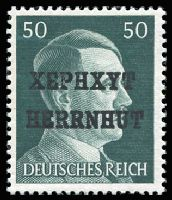 Lot 1810:Herrnut:: 1945 provisional 50pf deep green Hitler optd 'XEPHXYT/HERRNHUT'. Very fresh MUH with correctly placed ZIERER BPP expert handstamp, cat €400-1,000.