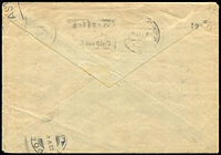 Lot 1510 [2 of 2]:Finnish Legion 1943 (May 5) unfranked flimsy envelope (reinforced) to a member of the Finnish Legion in Magdeburg, redirected to Bori in Finland. Slogan 'BERLIN-CHARLOTTENBURG 2/05.5.43.-19/bn' pmk exhorting care with fire in the forest and heath, 'SS-VAPAAEHTOISTOIMISTO', poor eagle & swastika cachet, magenta 'FELDPOST/F/*' s/ring, light Finnish censor handstamp and part PORI arr backstamp. Some imperfections, pinholes, very scarce.