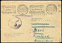 Lot 1510 [1 of 2]:Finnish Legion 1943 (May 5) unfranked flimsy envelope (reinforced) to a member of the Finnish Legion in Magdeburg, redirected to Bori in Finland. Slogan 'BERLIN-CHARLOTTENBURG 2/05.5.43.-19/bn' pmk exhorting care with fire in the forest and heath, 'SS-VAPAAEHTOISTOIMISTO', poor eagle & swastika cachet, magenta 'FELDPOST/F/*' s/ring, light Finnish censor handstamp and part PORI arr backstamp. Some imperfections, pinholes, very scarce.