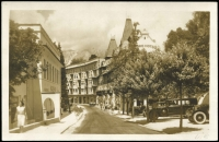 Lot 1517 [2 of 2]:Occupation Of Jugoslavia beautiful sepia monochrome PPC of street scene in Bled depicting the Park Hotel (directly opposite a casino apparently) and some wonderful automobiles. Addressed to Lubeck, pmkd 'KRAINBURG(KARNTEN)/02.11.42--0', and violet 'SS Feldpost' plus s/ring eagle & swastika 'Pol.Rgt.19 - III.Bataillon/11.Komp/Briefstempel' handstamps. Very attractive.