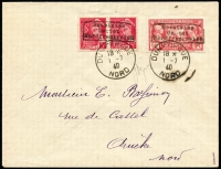 Lot 1509:1940 Dunkirk envelope franked pair 5c Mi #6 (France Mi #375 x2) and 90c American Legion (France Mi #224) each with Type I handstamped opt 'Besetztes/Gebiet/Nordfrankreich' tied cds 'DUNKERQUE/18*/1-7/40/NORD'. Addressed to Arneke, Nord with arr backstamp two days later. Michel confirms scarce (and late) usage of 90c with the opt. Werner Pickenpack full photo certificate (1969) as well as his handstamp on cover. Rare. [A pencilled signature on the front may be an approving censor?]
