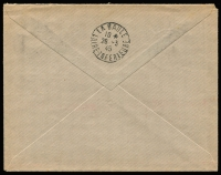 Lot 17431 [2 of 2]:1945 50c Metered Franking: on plain envelope (upside down and very lightly struck, trivial corner blemishes noted for accuracy) handstamped 'TAXE PERCUE' and broken cds of 'PIRIAC s/MER/15*/24-3/45/LOIRE-INFRE', Post Restante addressee, backstamp La Baule following day. Indecipherable expert (?) handstamp. Very clean.